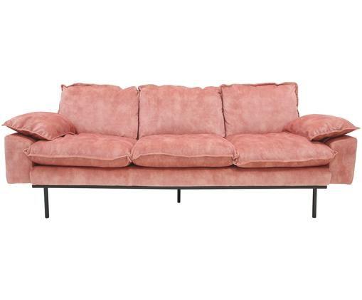Samt-Sofa Retro (3-Sitzer), Altrosa, Schwarz