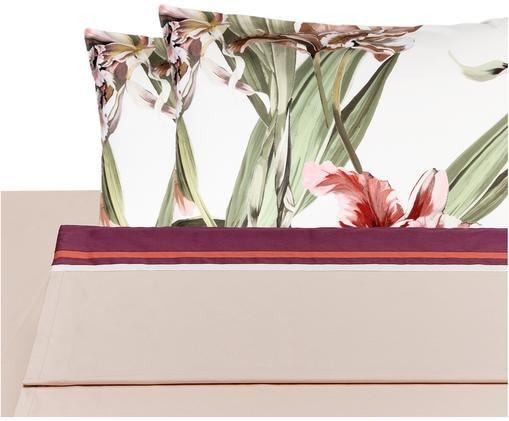Completo letto in raso di cotone Iris con lenzuolo letto, 4 pz., Bianco, tonalità rosa, verde