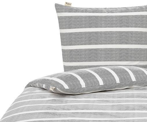 Pościel z bawełny renforcé Stripe Along, Bawełna, Antracytowy, biały, 135 x 200 cm