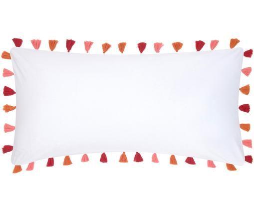 Poszewka na poduszkę z perkalu z chwostami Quo, 2 szt., Biały, wielobarwny, S 40 x D 80 cm