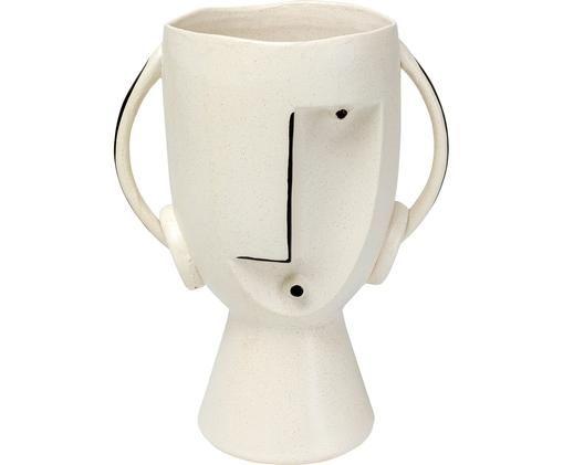 Vase Face, Steingut, Weiß, Schwarz, 23 x 30 cm