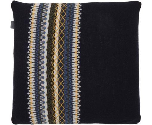 Housse de coussin en laine finement tricotée Trig, Bleu foncé, blanc, tons jaunes, bleu ciel