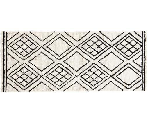 Läufer Ponte, Wolle, Schwarz, Weiß, 80 x 200 cm