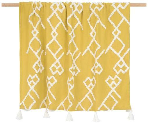 Plaid con decorazioni trapuntate Tikki, Cotone, Giallo, Larg. 130 x Lung. 170 cm