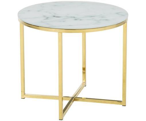 Tavolino d'appoggio Antigua con piano in vetro, Piano d'appoggio: vetro, con stampa opaca, Struttura: acciaio ottonato, Bianco, ottone, Ø 50 x Alt. 42 cm
