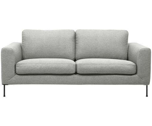 Sofa Cucita (3-Sitzer), Bezug: Webstoff (Polyester) 45.0, Gestell: Massives Kiefernholz, Füße: Metall, lackiert, Hellgrau, B 187 x T 94 cm