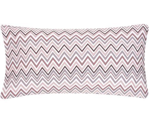 Poszewka na poduszkę z satyny bawełnianej Maui, Biały, mauve, S 40 x D 80 cm