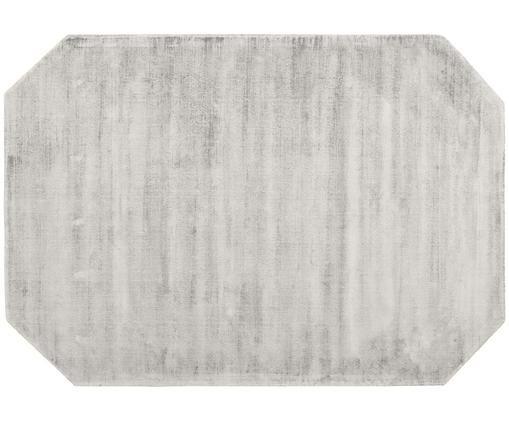 Alfombra artesanal de viscosa Jane Diamond, Parte superior: 100%viscosa, Reverso: 100%algodón, Gris claro, An 200 x L 300 cm (Tamaño L)