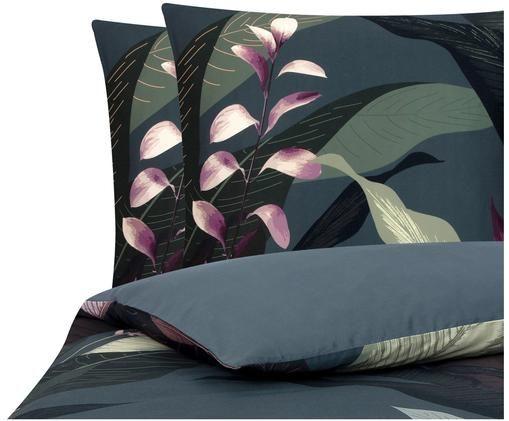 Parure copripiumino reversibile in raso di cotone Flora, Tessuto: raso, Fronte: multicolore Retro: grigio scuro, 200 x 200 cm