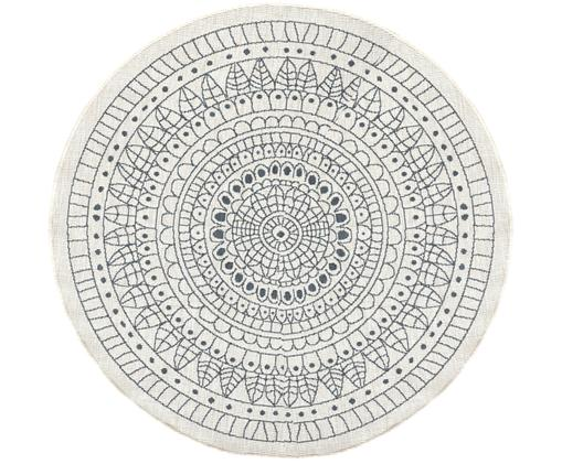 Rond omkeerbaar tapijt voor binnen en buiten met patroon, Grijs, crèmekleurig