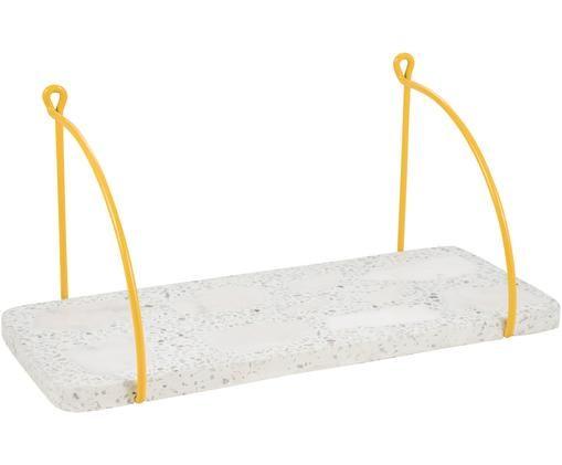 Półka ścienna z kamienia Porter, Metal powlekany, kamień, Żółty, biały, S 40 x D 18 cm