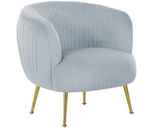 Fluwelen fauteuil Cara, Bekleding: fluweel (polyester), Frame: massief berkenhout, spaan, Poten: gecoat metaal, IJsblauw, B 76 x D 75 cm