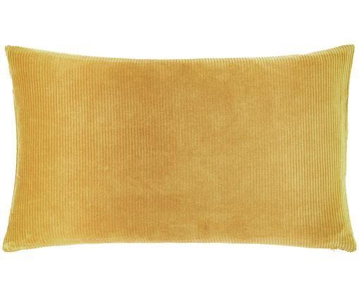 Housse de coussin en velours côtelé jaune Mikkel