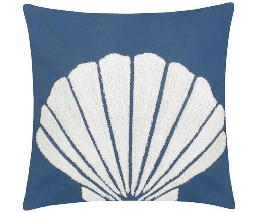 Kissenhülle Ocean mit getuftetem Motiv, Baumwolle, Blau, Weiß, 40 x 40 cm