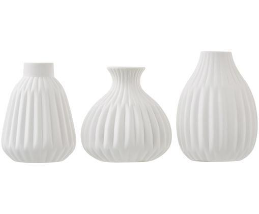 Vasen-Set Palo, 3-tlg., Porzellan, Weiss, nicht glasierte raue Oberfläche, Verschiedene Grössen