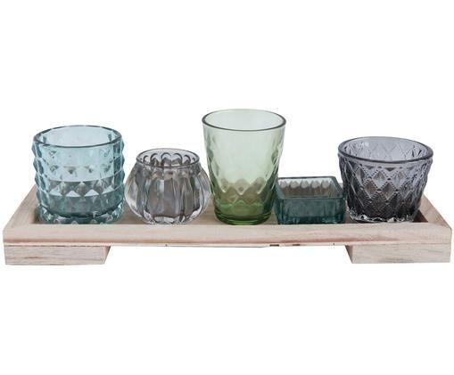 Waxinelichthoudersset Hollyhock, 6-delig, Dienblad: hout, Groen, grijs, bruin, 33 x 10 cm