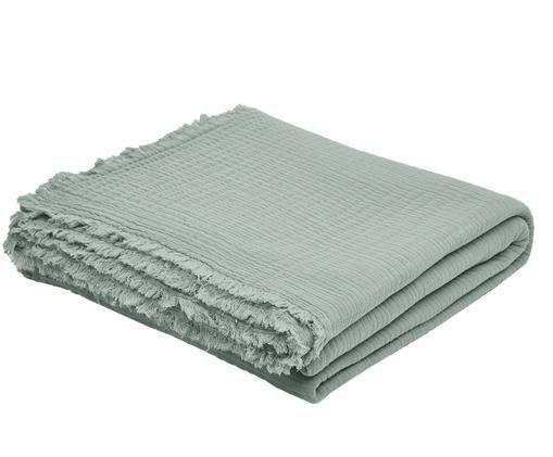 Tagesdecke Vanly aus weichem Baumwollmusselin, Baumwollmusselin, Graugrün, 240 x 260 cm