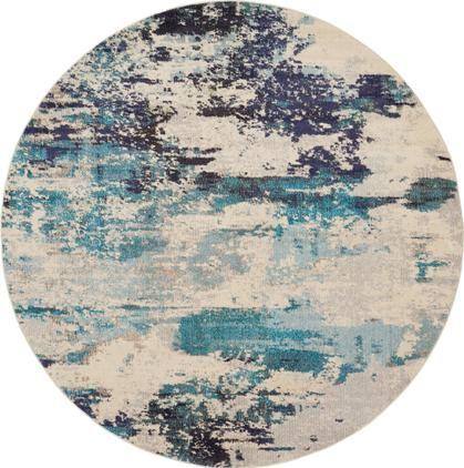 Runder Designteppich Celestial in Blau-Creme