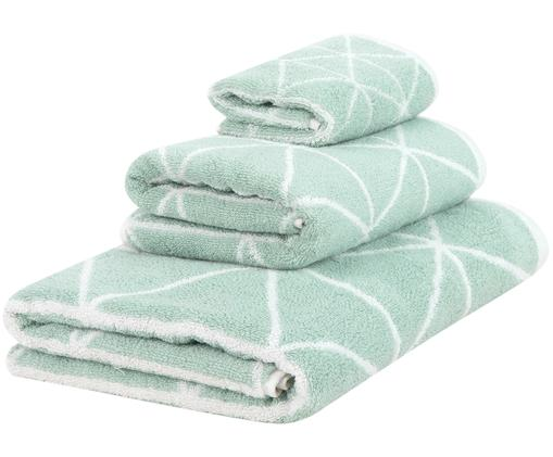 Set asciugamani reversibili Elina, 3 pz., Verde menta, bianco crema