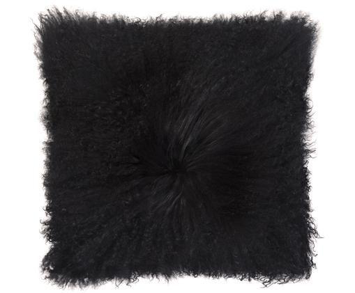 Cuscino in pelliccia di pecora a pelo lungo Curly, Nero
