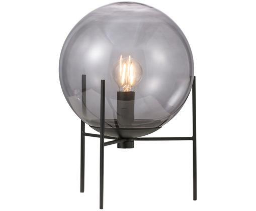 Tafellamp Alton, Glas, metaal, Zwart, grijs, transparant, Ø 20 x H 29 cm