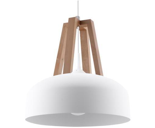 Skandi-Pendelleuchte Olla, Lampenschirm: Stahl, lackiert, Weiß, Ø 30 x H 20 cm