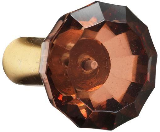 Wandhaak Sofie Diamond, Wandbevestiging: messingkleurig. Voorkant: rood, transparant, Ø 6 x D 4 cm
