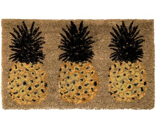 Fußmatte Three Pineapples, Oberseite: Kokosfaser, Unterseite: PVC, Beige, Gelb, Schwarz, 45 x 75 cm