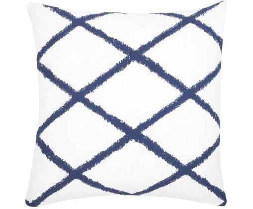 Federa arredo  Laila, 100% cotone, Bianco, blu marino, Larg. 45 x Lung. 45 cm