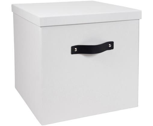 Scatola custodia Texas, Scatola: solido, cartone laminato, Manico: pelle, Bianco, Larg. 32 x Alt. 32 cm