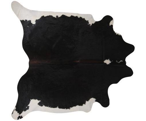 Alfombra de piel bovina Pisces, Piel bovina, Blanco con manchas negras, Piel bovina única 967