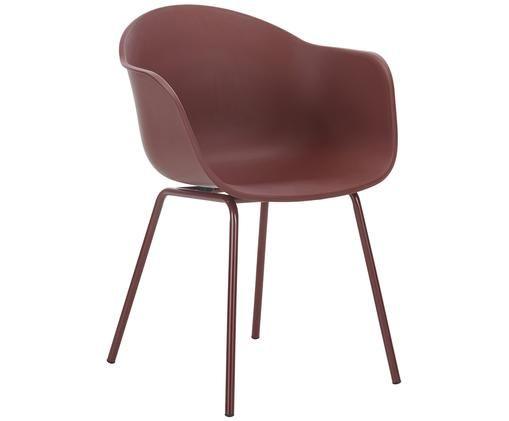Kunststoff-Armlehnstuhl Claire mit Metallbeinen, Sitzschale: BurgunderrotBeine: Burgunderrot, matt
