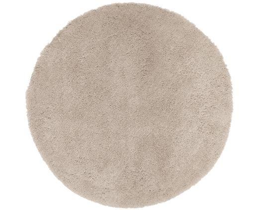 Rond hoogpolig vloerkleed Leighton in beige, Bovenzijde: 100% polyester (microveze, Onderzijde: 100% polyester, Beige, Ø 120 cm