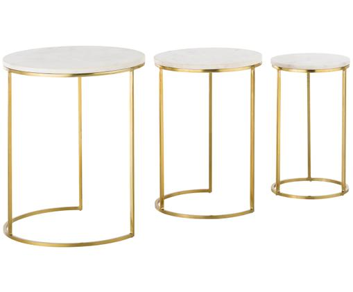 Set tavolini in marmo Ivy, 3 pz., Piani d'appoggio: marmo bianco-grigio Struttura: dorato, lucido