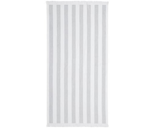 Gestreiftes Strandtuch Mare, Baumwolle leichte Qualität 380 g/m², Grau, Weiß, 80 x 160 cm