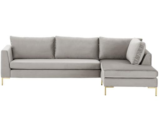 Samt-Ecksofa Luna, Bezug: Samt (Polyester) 80.000 S, Gestell: Massives Buchenholz, Füße: Metall, galvanisiert, Samt Beige, Gold, B 280 x T 184 cm