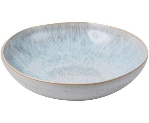 Handbemalte Schale Areia, Steingut, Hellblau, Gebrochenes Weiß, Hellbeige, Ø 22 x H 5 cm
