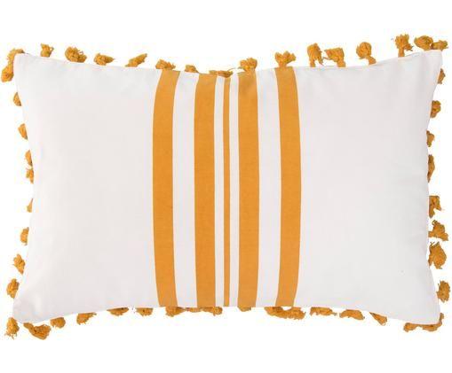 Poszewka na poduszkę Guetary, 50%bawełna, 50%poliester, Złamana biel, pomarańczowy, S 30 x D 50 cm