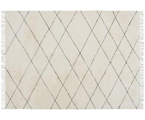 Tapis en coton à imprimés losanges Less, Blanc cassé, noir