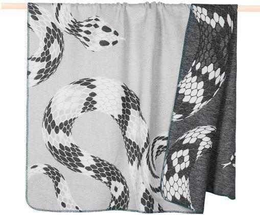 Dwustronny pled Haley, 65% bawełna, 35% akryl, Szary, biały, czarny, S 150 x D 200 cm