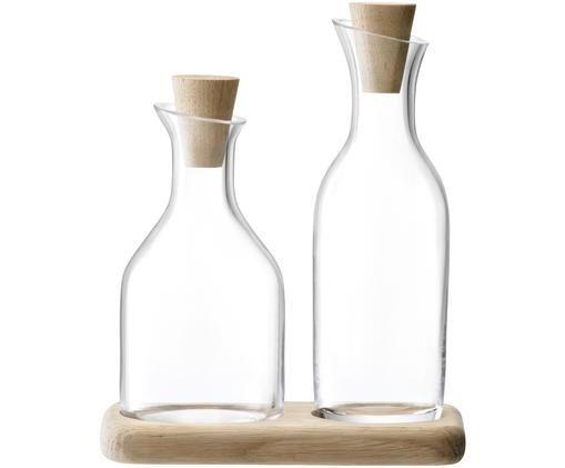 Azijn- en oliedispenser Serve van glas en eikenhout, 3-delig, Onderbord: eikenhout, Dispender: transparant. Onderbord: eikenhout. Stop: eikenhout, Verschillende formaten