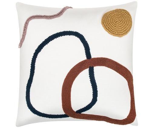 Kissenhülle Pablo mit abstrakter Verzierung, Baumwolle, Vorderseite: MehrfarbigRückseite: Weiß, 45 x 45 cm