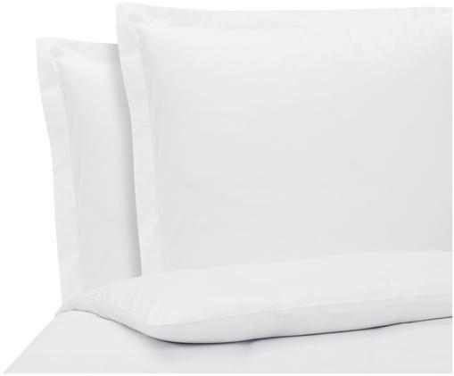Baumwollsatin-Bettwäsche Premium in Weiß mit Stehsaum, Weiß, 240 x 220 cm