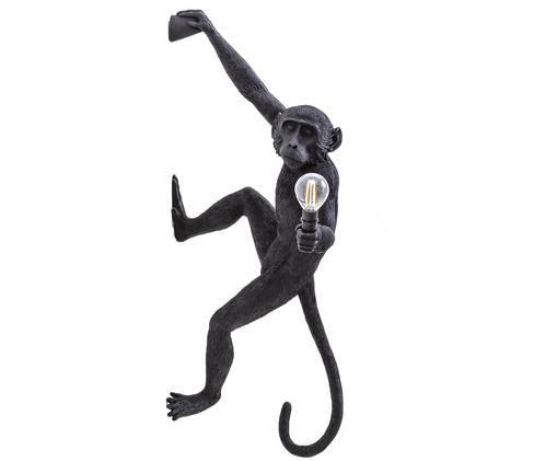 Applique con spina The Monkey, Poliresina, Nero, Larg. 21 x Alt. 77 cm