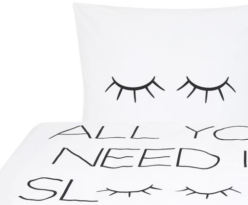 Perkal-Bettwäsche Sleepy Eyes mit Schriftzug, Webart: Perkal Fadendichte 200 TC, Weiß, Schwarz, 135 x 200 cm