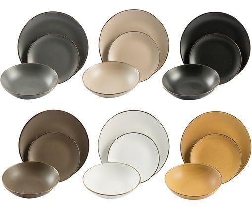 Set piatti Cala Dorada, 18 pz., Nero, bianco, marrone, oro
