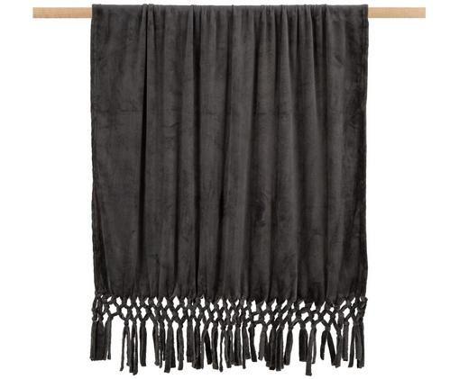 Weiches Plaid Bishop mit Fransenabschluss, Polyethylen, Anthrazit, 130 x 160 cm