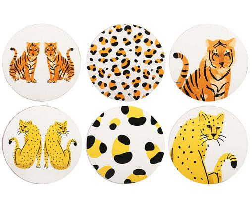 Set sottobicchieri Leopard, 6 pz., Sughero, Bianco, arancione, giallo, nero, Ø 10 cm