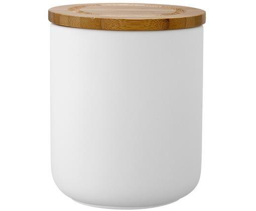 Aufbewahrungsdose Stak, Dose: Keramik, Deckel: Bambusholz, Weiß, Bambus, Ø 10 x H 13 cm
