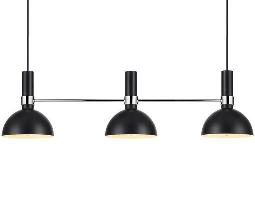Hanglamp Larry, Zwart, chroomkleurig, 100 x 24 cm